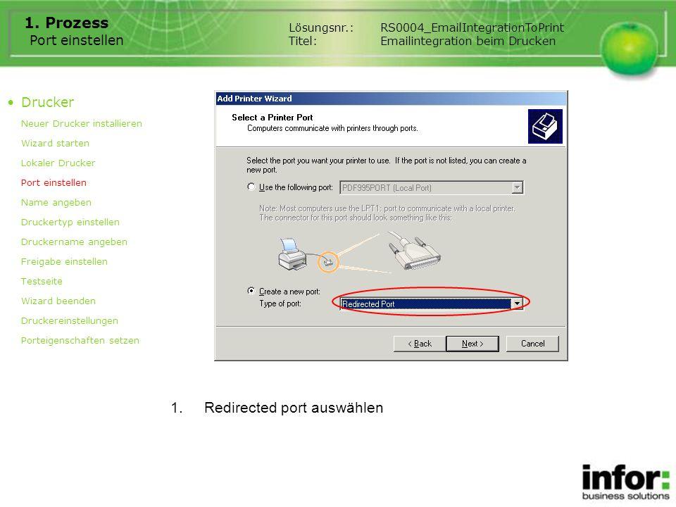 Port einstellen 1. Prozess 1.Redirected port auswählen Drucker Neuer Drucker installieren Wizard starten Lokaler Drucker Port einstellen Name angeben