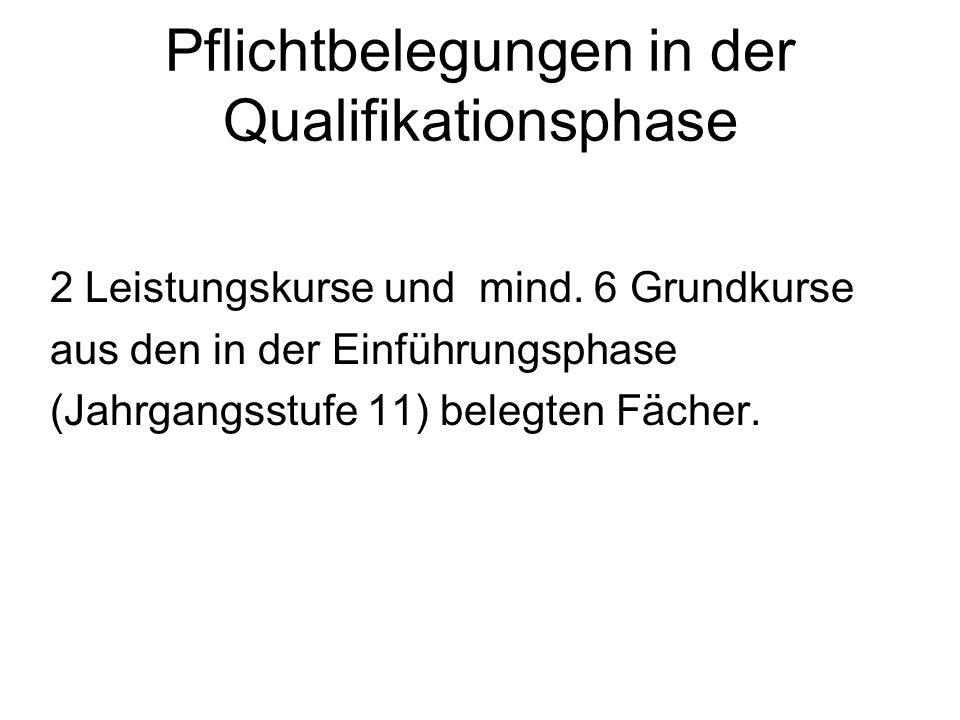 Pflichtbelegungen in der Qualifikationsphase 2 Leistungskurse und mind. 6 Grundkurse aus den in der Einführungsphase (Jahrgangsstufe 11) belegten Fäch