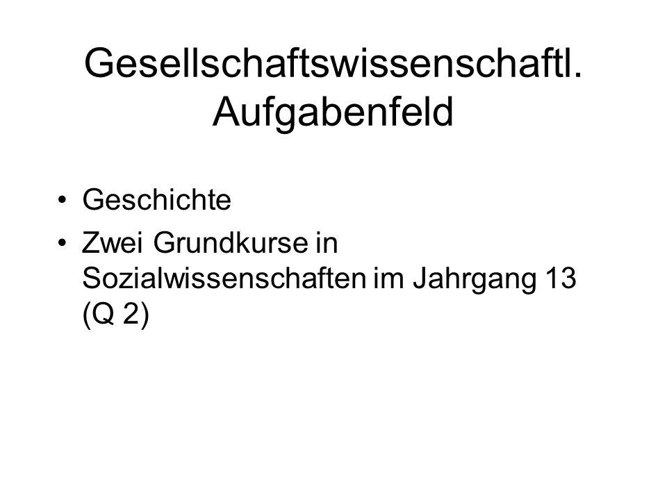 Gesellschaftswissenschaftl. Aufgabenfeld Geschichte Zwei Grundkurse in Sozialwissenschaften im Jahrgang 13 (Q 2)