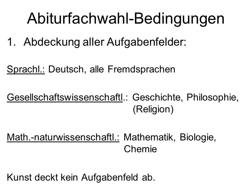 Abiturfachwahl-Bedingungen 1.Abdeckung aller Aufgabenfelder: Sprachl.: Deutsch, alle Fremdsprachen Gesellschaftswissenschaftl.: Geschichte, Philosophi