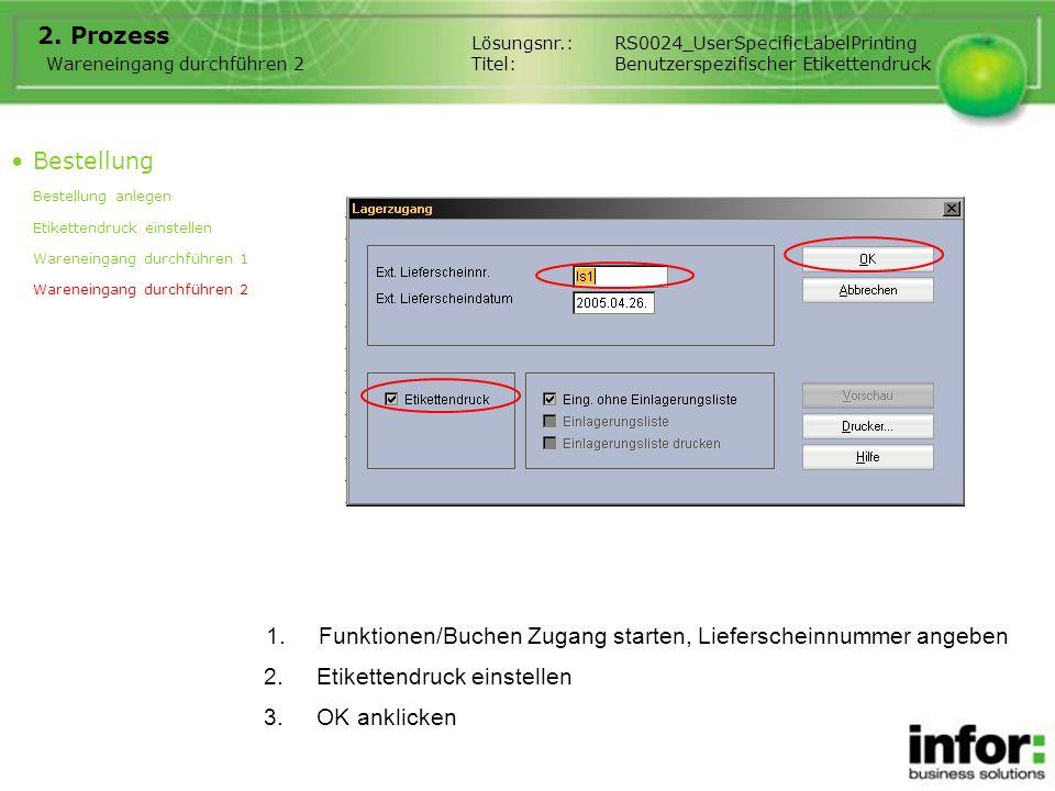 1.Funktionen/Buchen Zugang starten, Lieferscheinnummer angeben 2. Prozess Bestellung Bestellung anlegen Etikettendruck einstellen Wareneingang durchfü