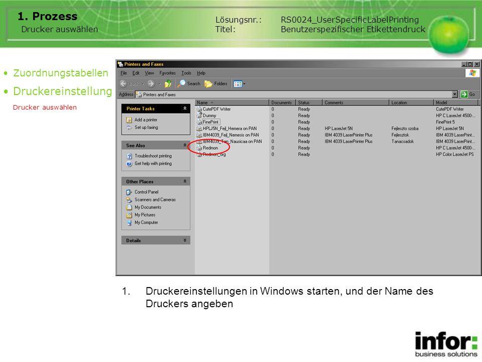 1.Druckereinstellungen in Windows starten, und der Name des Druckers angeben 1. Prozess Drucker auswählen Zuordnungstabellen Druckereinstellung Drucke