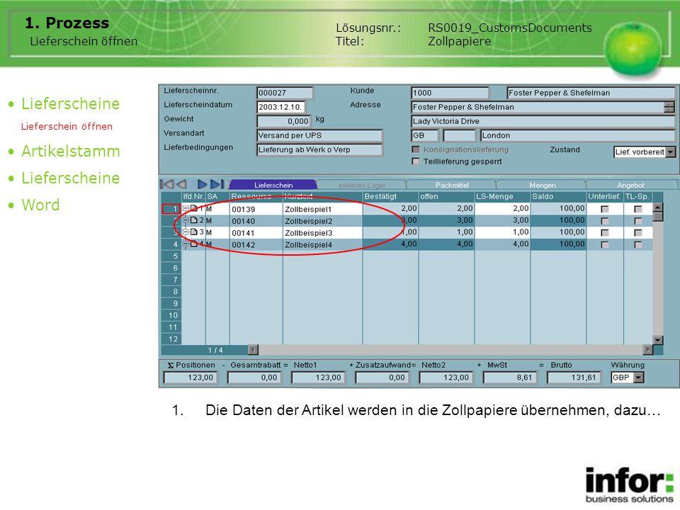 1.Die Daten der Artikel werden in die Zollpapiere übernehmen, dazu… 1. Prozess Lieferscheine Lieferschein öffnen Artikelstamm Lieferscheine Word Liefe