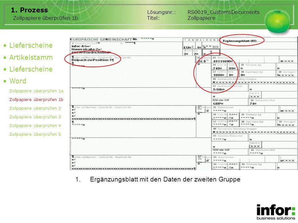 1.Ergänzungsblatt mit den Daten der zweiten Gruppe 1. Prozess Lieferscheine Artikelstamm Lieferscheine Word Zollpapiere überprüfen 1a Zollpapiere über