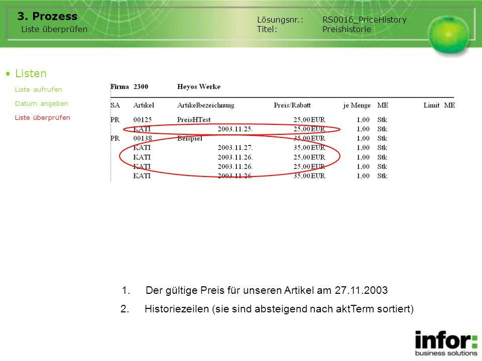 1.Der gültige Preis für unseren Artikel am 27.11.2003 3.