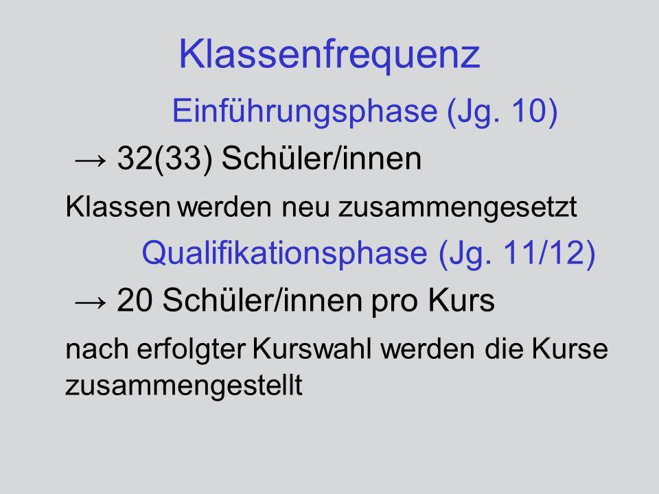 Klassenfrequenz Einführungsphase (Jg. 10) 32(33) Schüler/innen Klassen werden neu zusammengesetzt Qualifikationsphase (Jg. 11/12) 20 Schüler/innen pro