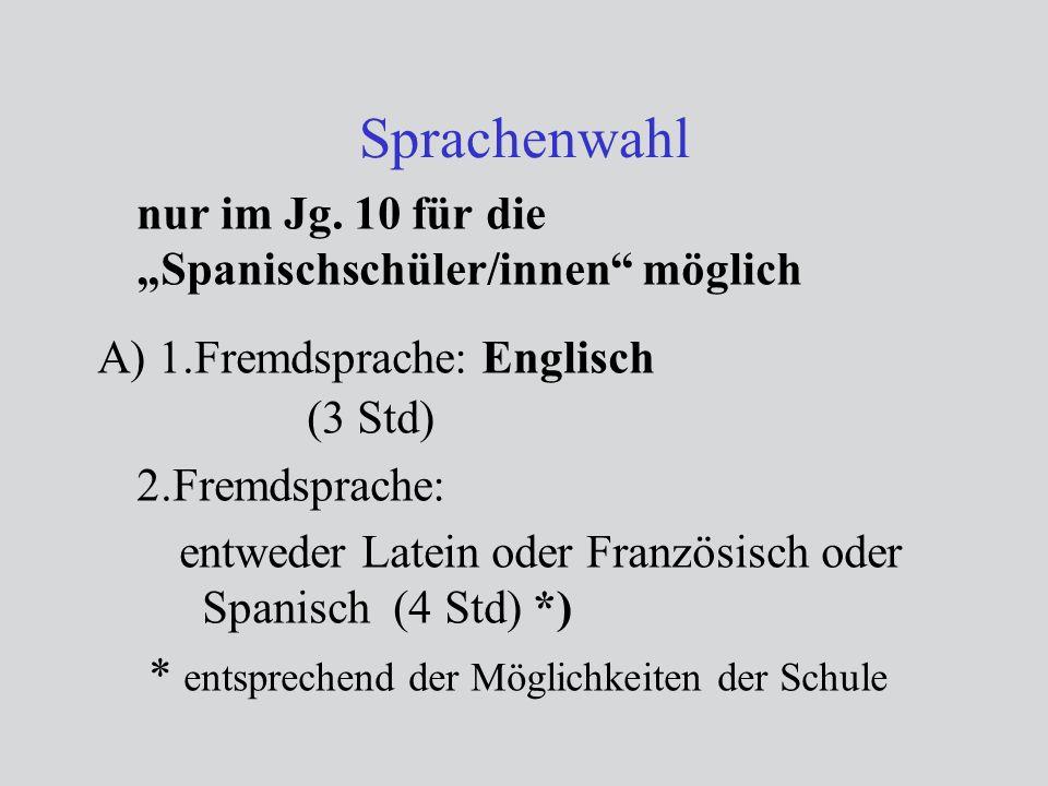 Sprachenwahl nur im Jg. 10 für die Spanischschüler/innen möglich A) 1.Fremdsprache: Englisch (3 Std) 2.Fremdsprache: entweder Latein oder Französisch