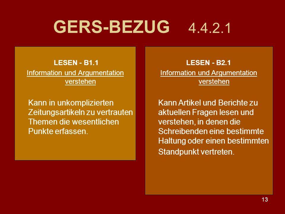 13 GERS-BEZUG 4.4.2.1 LESEN - B1.1 Information und Argumentation verstehen Kann in unkomplizierten Zeitungsartikeln zu vertrauten Themen die wesentlichen Punkte erfassen.