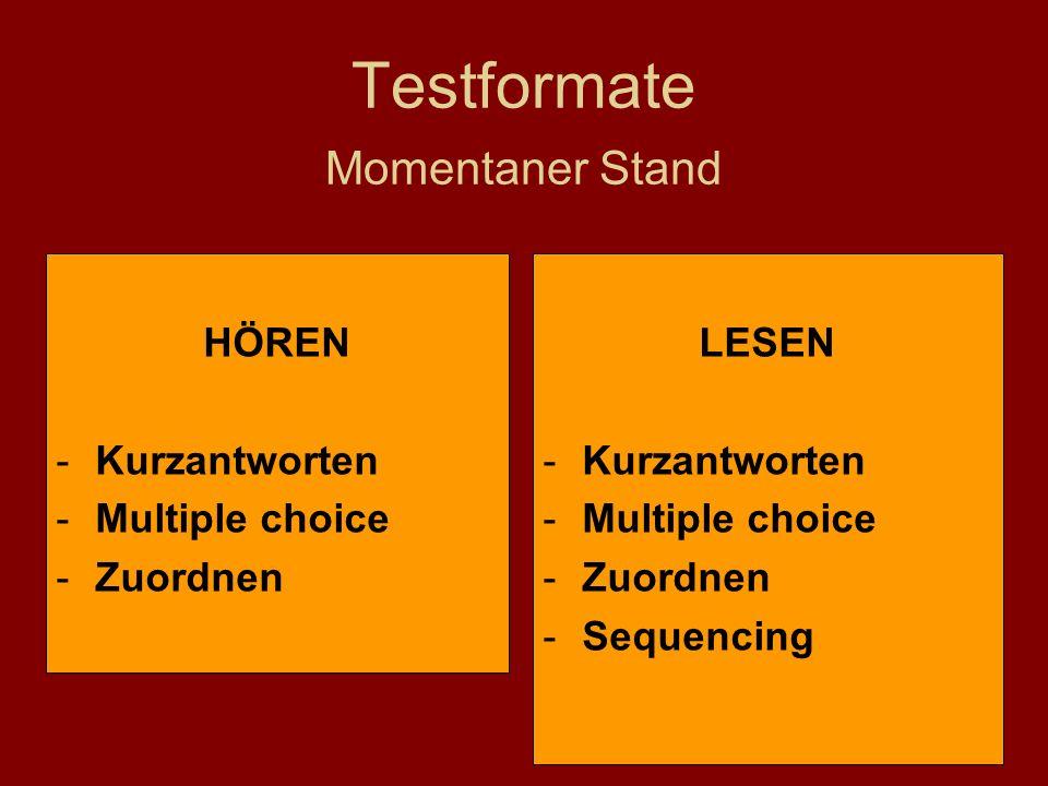 15 Testformate Momentaner Stand LESEN -Kurzantworten -Multiple choice -Zuordnen -Sequencing HÖREN -Kurzantworten -Multiple choice -Zuordnen