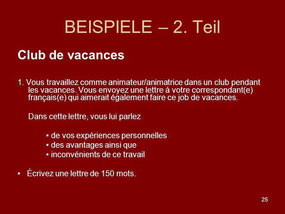 25 BEISPIELE – 2.Teil Club de vacances 1.