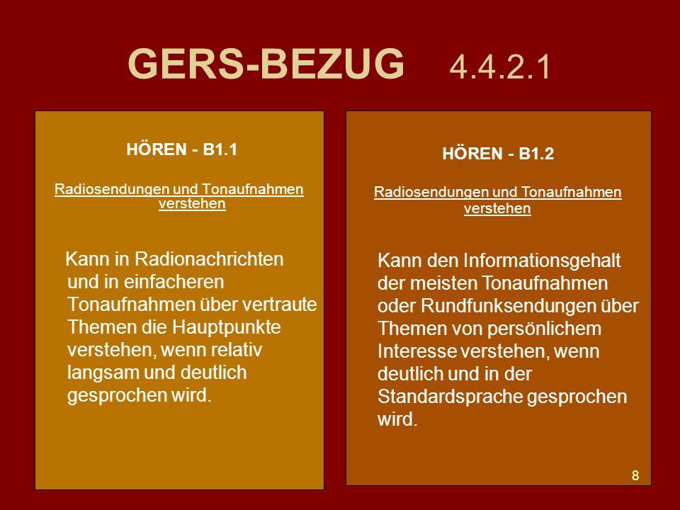 8 GERS-BEZUG 4.4.2.1 HÖREN - B1.1 Radiosendungen und Tonaufnahmen verstehen Kann in Radionachrichten und in einfacheren Tonaufnahmen über vertraute Themen die Hauptpunkte verstehen, wenn relativ langsam und deutlich gesprochen wird.