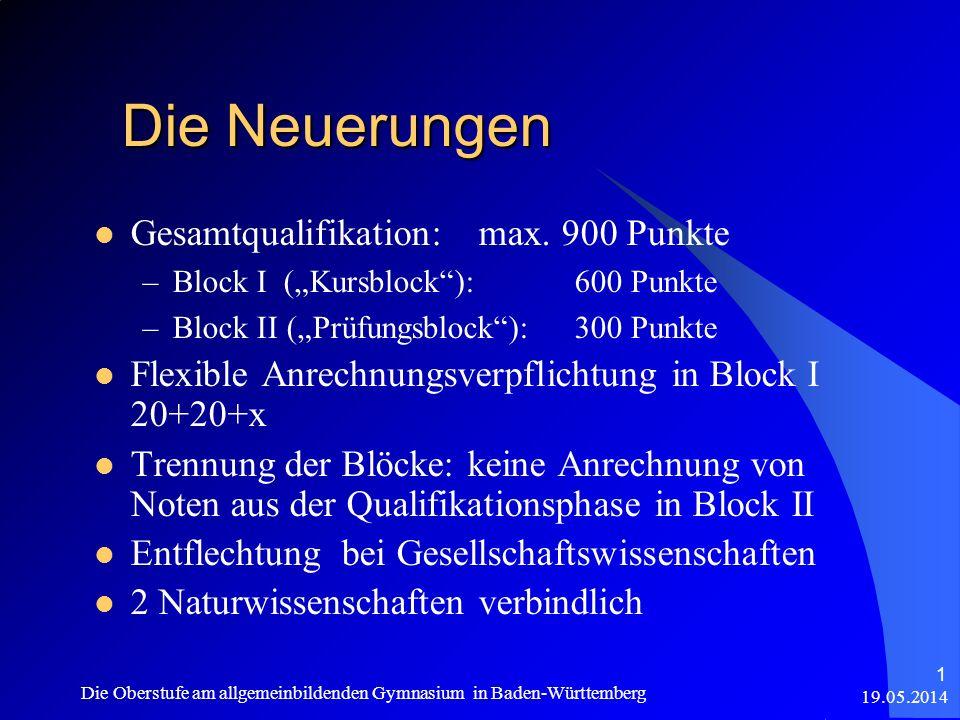 Gesamtqualifikation: max. 900 Punkte –Block I (Kursblock):600 Punkte –Block II (Prüfungsblock):300 Punkte Flexible Anrechnungsverpflichtung in Block I