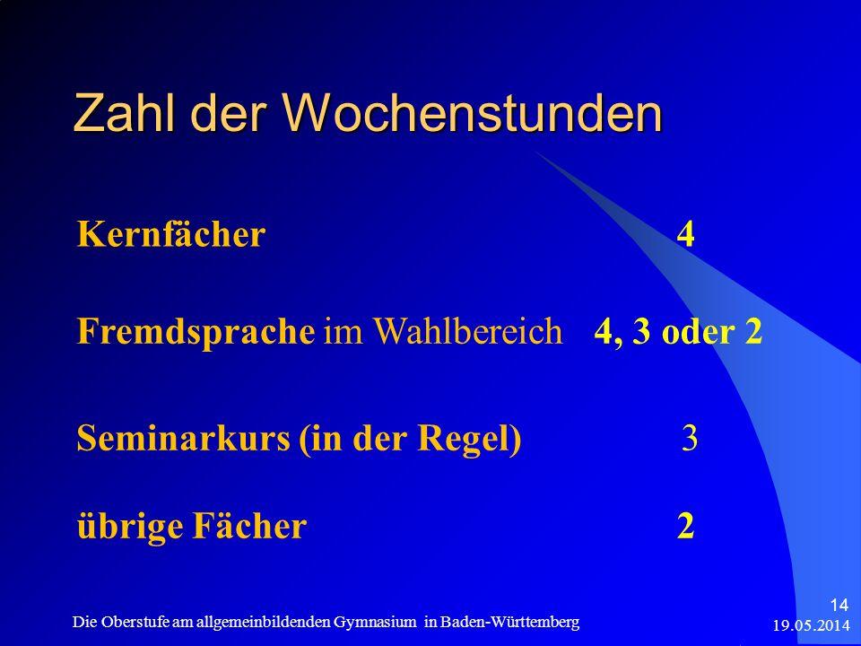 Zahl der Wochenstunden Kernfächer4 Fremdsprache im Wahlbereich4, 3 oder 2 Seminarkurs (in der Regel) 3 übrige Fächer2 19.05.2014 Die Oberstufe am allg