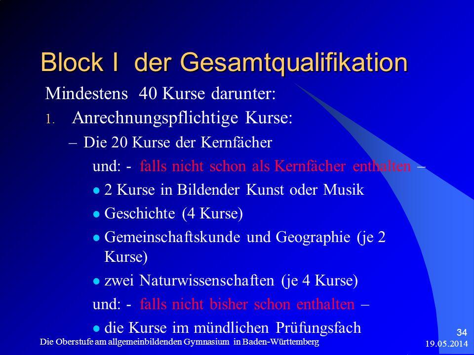 Mindestens 40 Kurse darunter: 1. Anrechnungspflichtige Kurse: –Die 20 Kurse der Kernfächer und: - falls nicht schon als Kernfächer enthalten – 2 Kurse