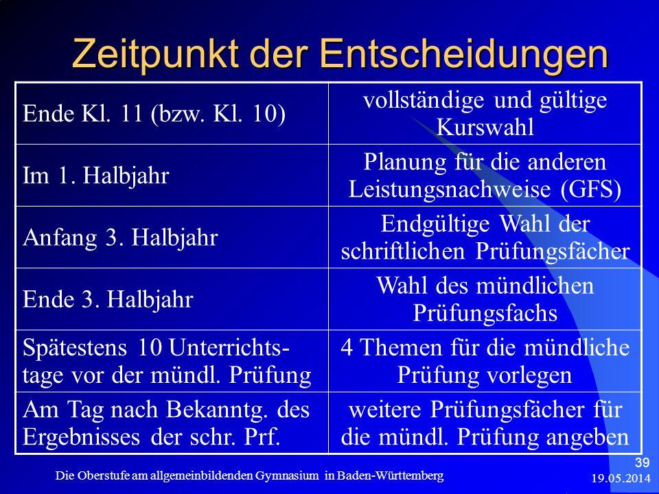 19.05.2014 Die Oberstufe am allgemeinbildenden Gymnasium in Baden-Württemberg 39 Zeitpunkt der Entscheidungen Ende Kl. 11 (bzw. Kl. 10) vollständige u