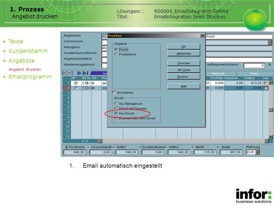 Angebot drucken 1. Prozess 1.Email automatisch eingestellt Texte Kundenstamm Angebote Angebot drucken Emailprogramm Lösungsnr.:RS0004_EmailIntegration