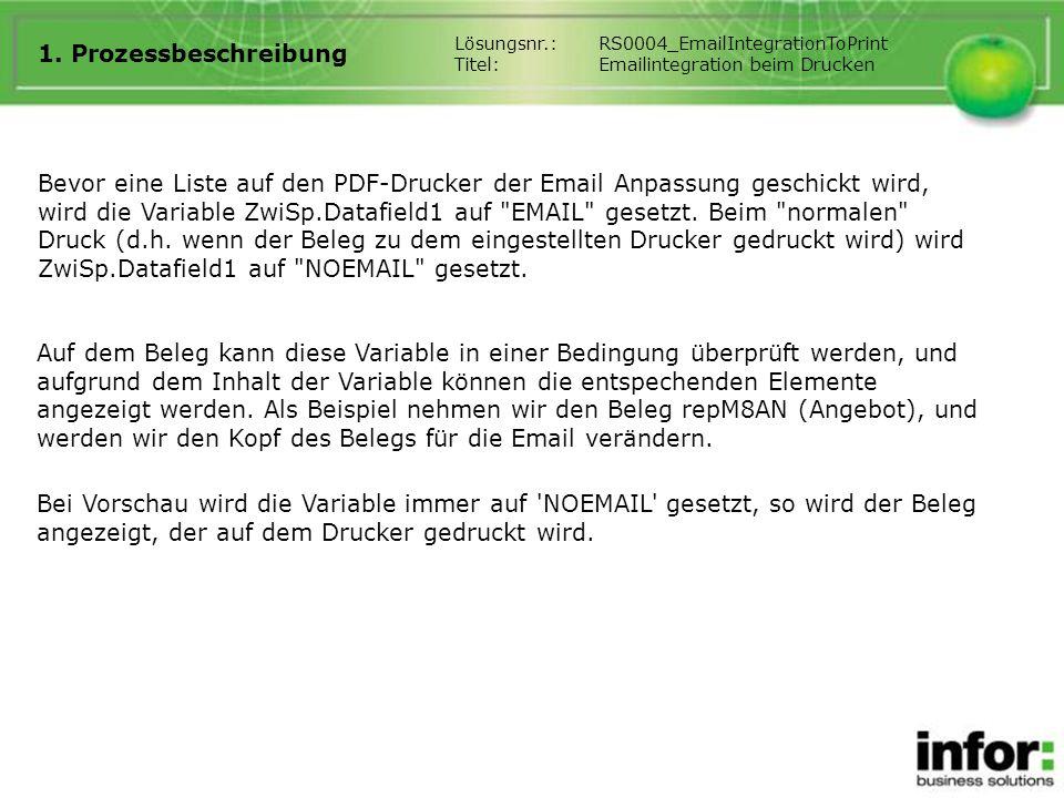 1. Prozessbeschreibung Bevor eine Liste auf den PDF-Drucker der Email Anpassung geschickt wird, wird die Variable ZwiSp.Datafield1 auf