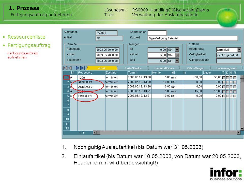 1.Noch gültig Auslaufartikel (bis Datum war 31.05.2003) 1.