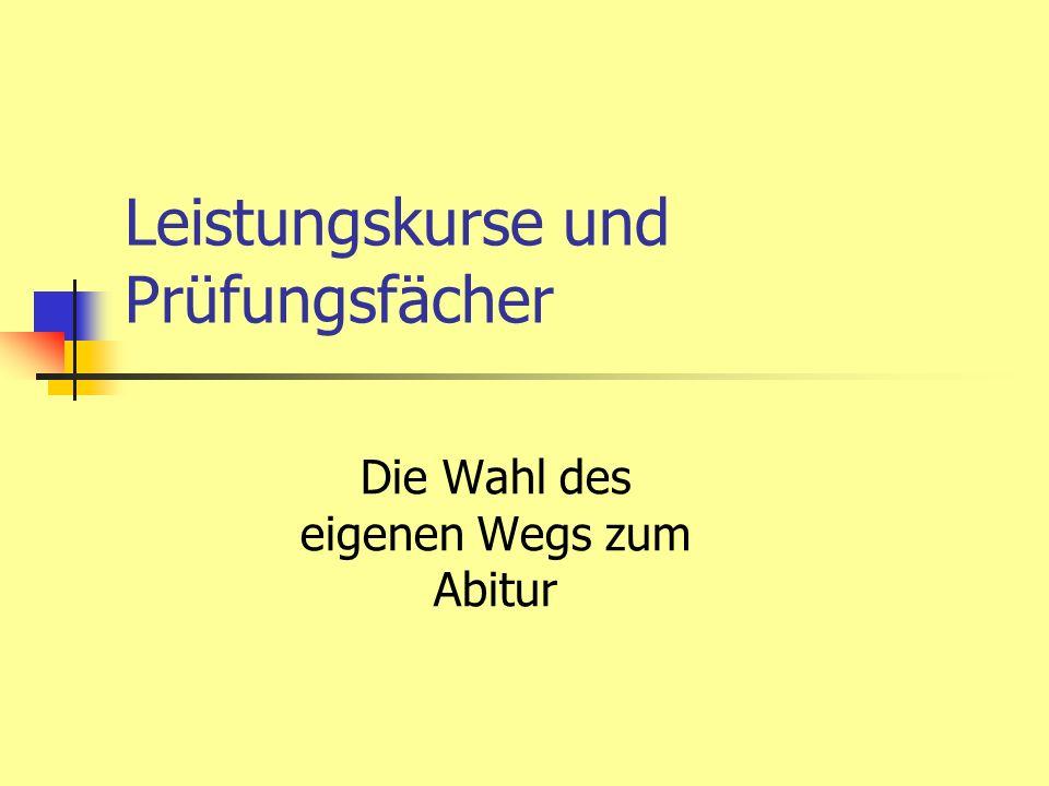 Rahmenbedingungen Die Abiturverordnung schreibt drei Prüfungsfächer verbindlich vor: Deutsch Mathematik Wahlweise eine Fremdsprache oder eine Naturwissenschaft