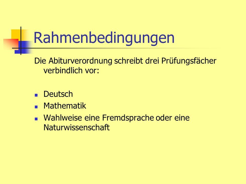 Rahmenbedingungen Die Abiturverordnung schreibt drei Prüfungsfächer verbindlich vor: Deutsch Mathematik Wahlweise eine Fremdsprache oder eine Naturwis