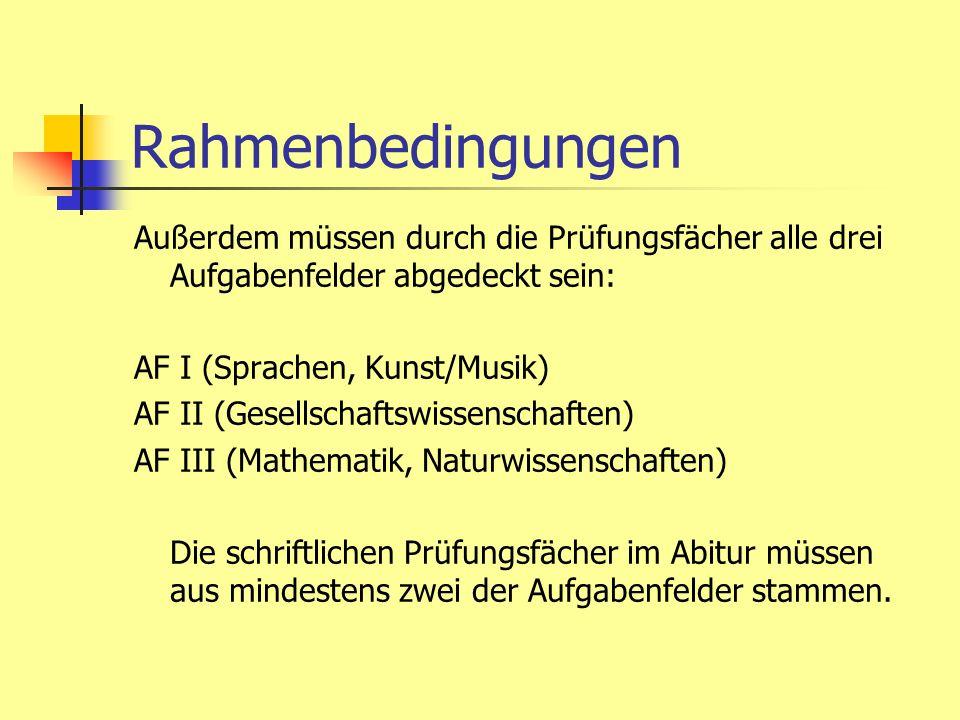 Rahmenbedingungen Außerdem müssen durch die Prüfungsfächer alle drei Aufgabenfelder abgedeckt sein: AF I (Sprachen, Kunst/Musik) AF II (Gesellschaftsw