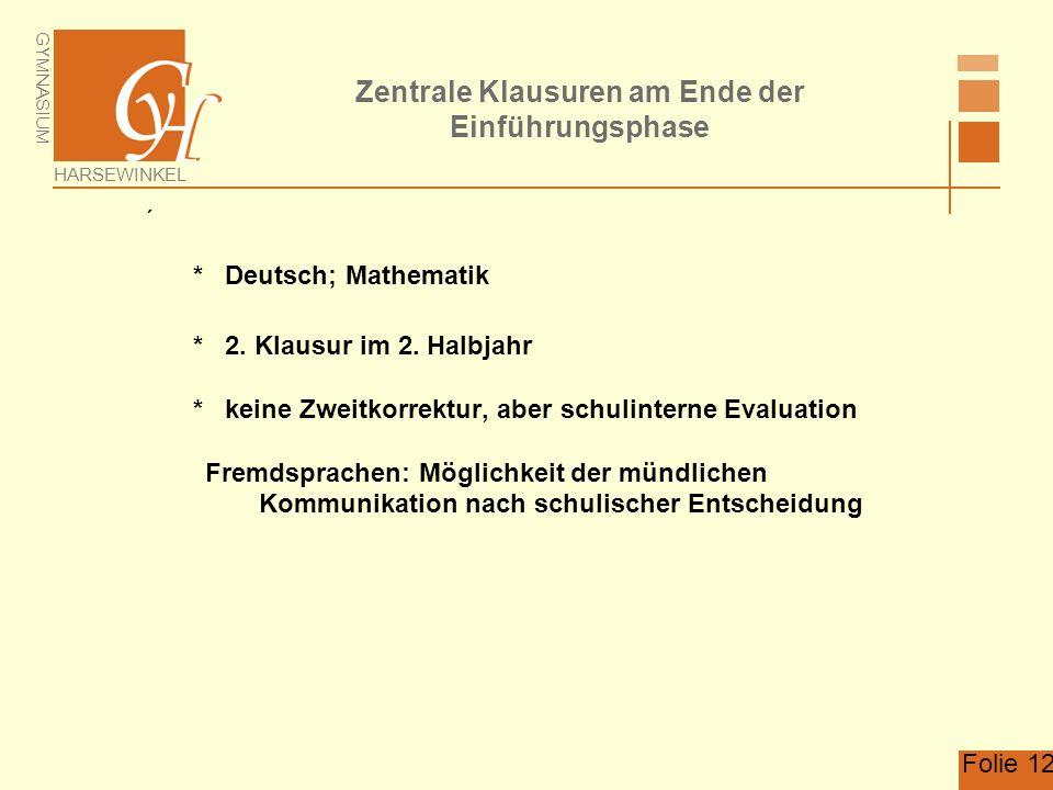GYMNASIUM HARSEWINKEL Folie 12 Zentrale Klausuren am Ende der Einführungsphase * Deutsch; Mathematik * 2.