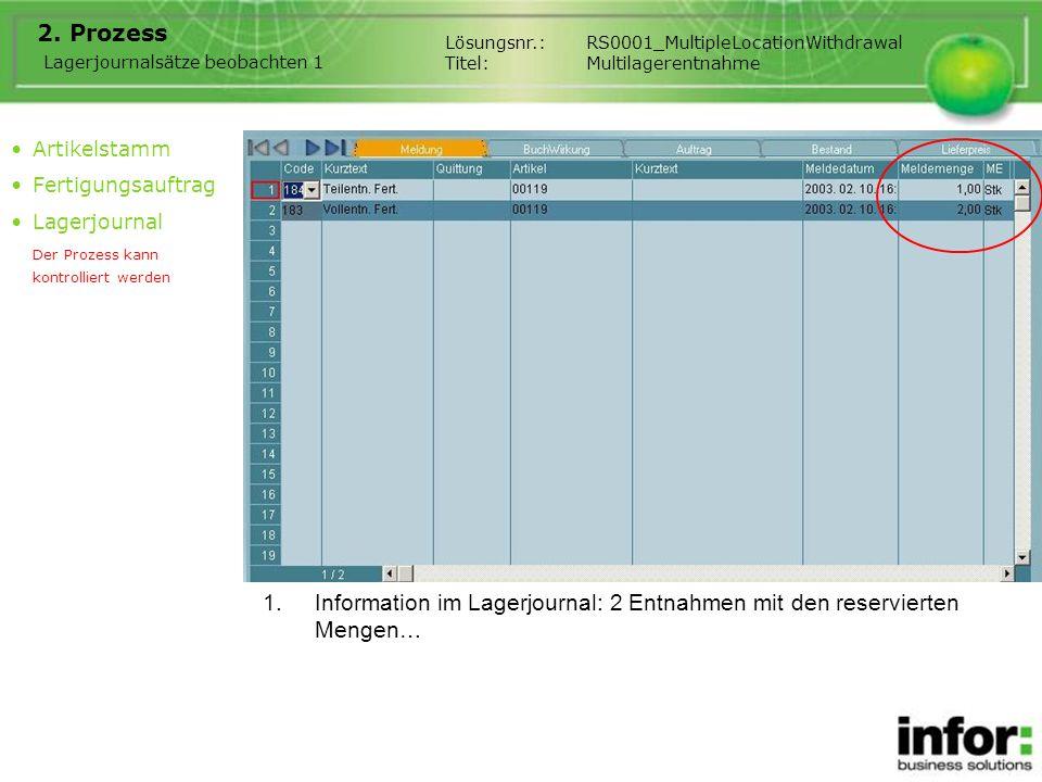 1.Information im Lagerjournal: 2 Entnahmen mit den reservierten Mengen… Lösungsnr.:RS0001_MultipleLocationWithdrawal Titel:Multilagerentnahme Artikels