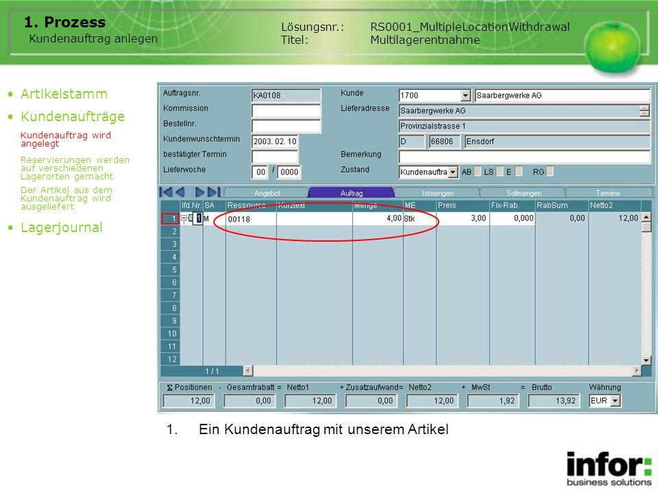 1.Ein Kundenauftrag mit unserem Artikel Lösungsnr.:RS0001_MultipleLocationWithdrawal Titel:Multilagerentnahme 1. Prozess Artikelstamm Kundenaufträge K