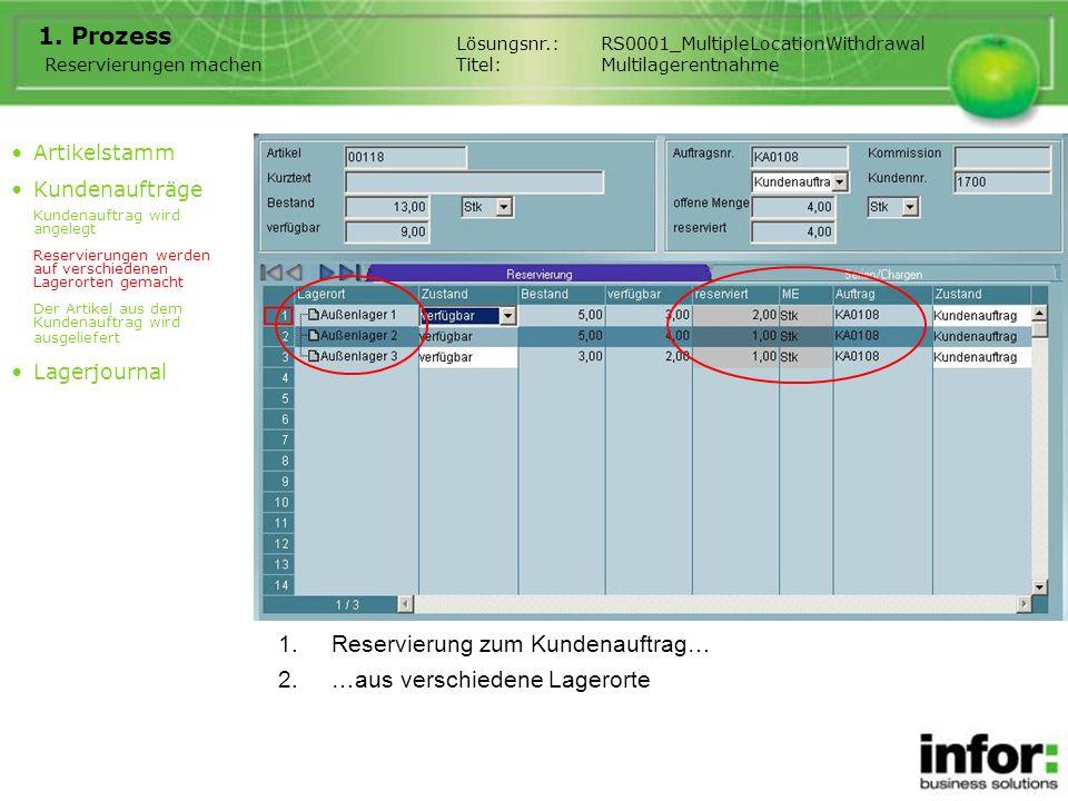 1.Reservierung zum Kundenauftrag… 2.…aus verschiedene Lagerorte Lösungsnr.:RS0001_MultipleLocationWithdrawal Titel:Multilagerentnahme 1. Prozess Artik