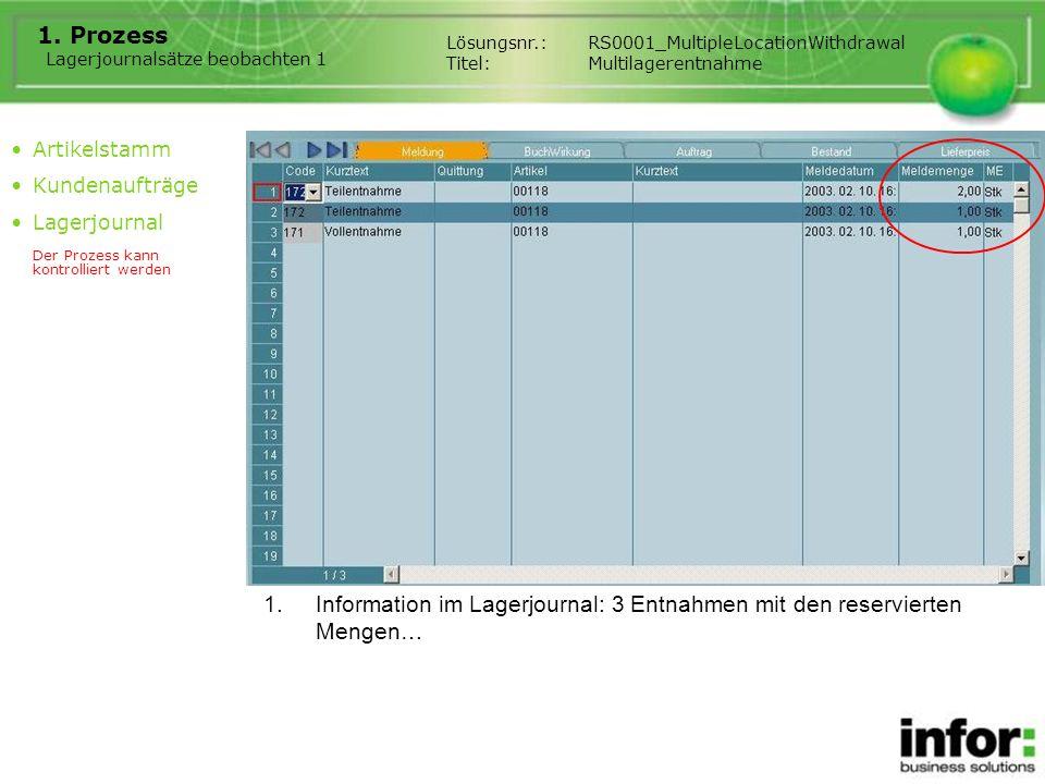 1.Information im Lagerjournal: 3 Entnahmen mit den reservierten Mengen… Lösungsnr.:RS0001_MultipleLocationWithdrawal Titel:Multilagerentnahme Artikels