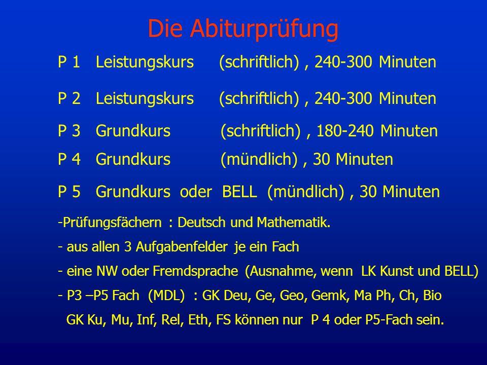 Die Abiturprüfung P 1 Leistungskurs (schriftlich), 240-300 Minuten P 2 Leistungskurs (schriftlich), 240-300 Minuten P 3 Grundkurs (schriftlich), 180-2
