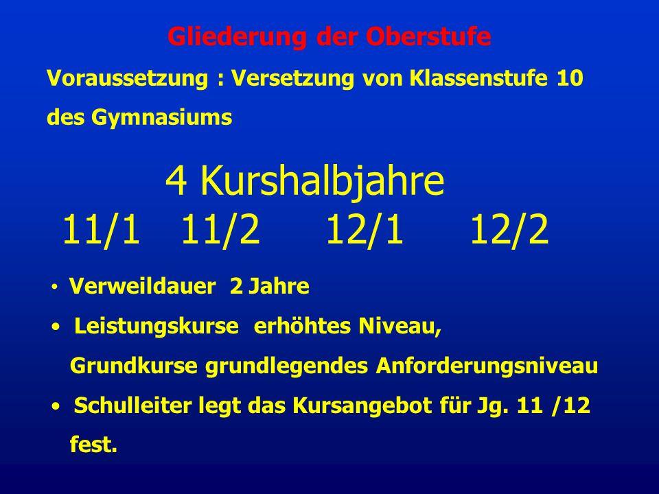 4 Kurshalbjahre 11/1 11/2 12/1 12/2 Voraussetzung : Versetzung von Klassenstufe 10 des Gymnasiums Verweildauer 2 Jahre Leistungskurse erhöhtes Niveau,