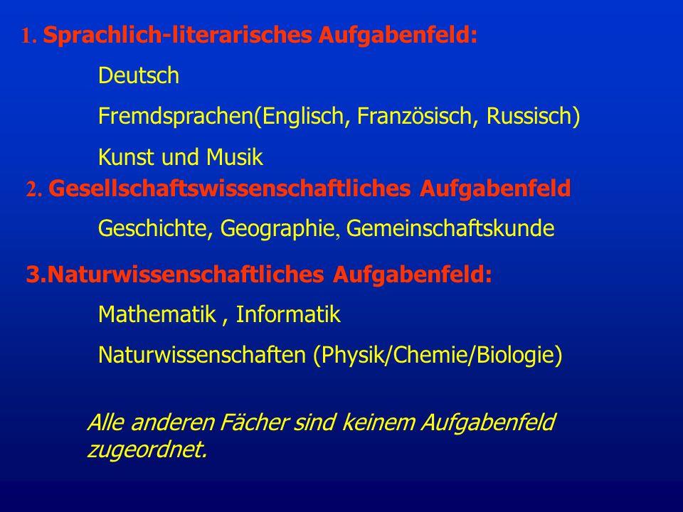 1. Sprachlich-literarisches Aufgabenfeld: Deutsch Fremdsprachen(Englisch, Französisch, Russisch) Kunst und Musik 3.Naturwissenschaftliches Aufgabenfel