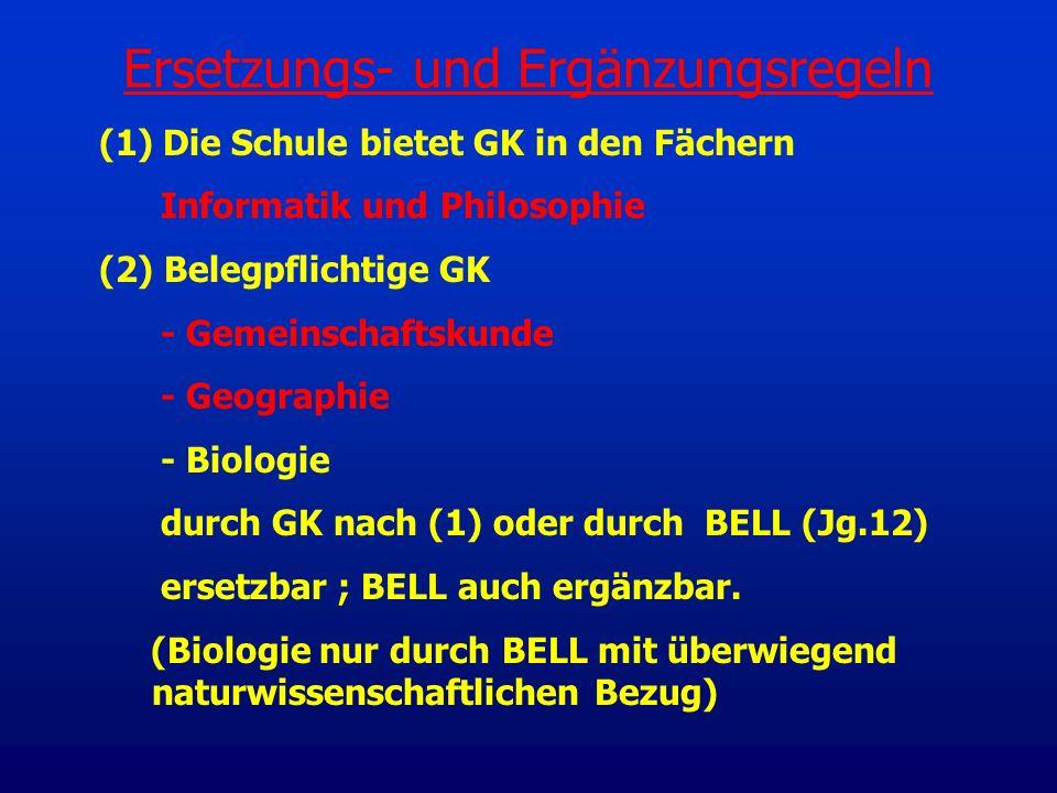 (1) Die Schule bietet GK in den Fächern Informatik und Philosophie (2) Belegpflichtige GK - Gemeinschaftskunde - Geographie - Biologie durch GK nach (