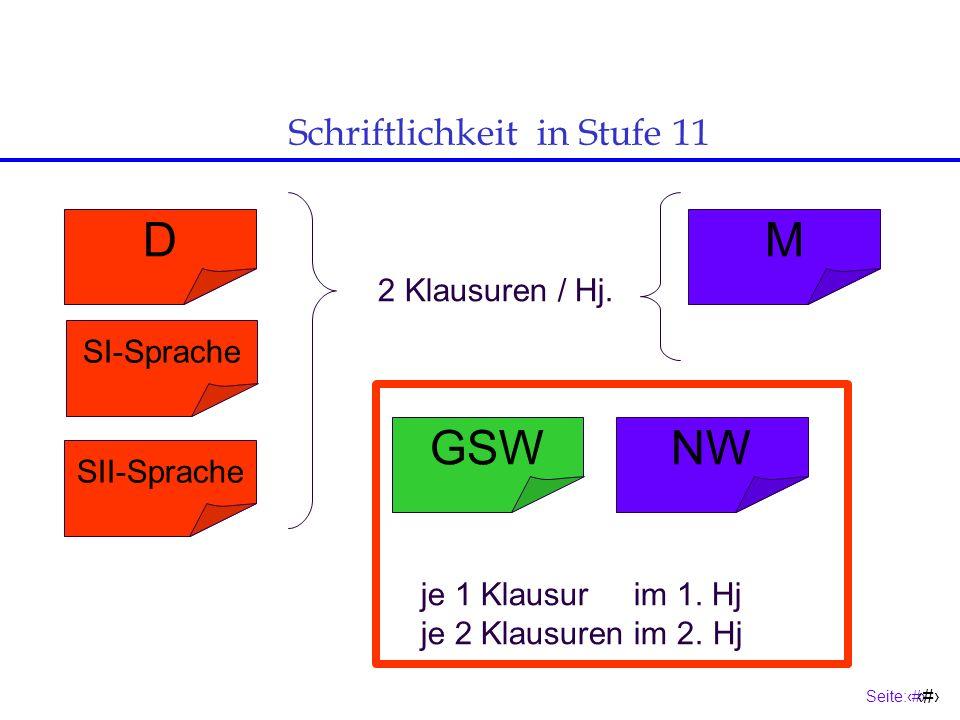 Seite:13 13 Eine Sprache aus der Sek.I Eine Sek. I- Sprache S.II-Sprache (GK 11 -13) Jgst.