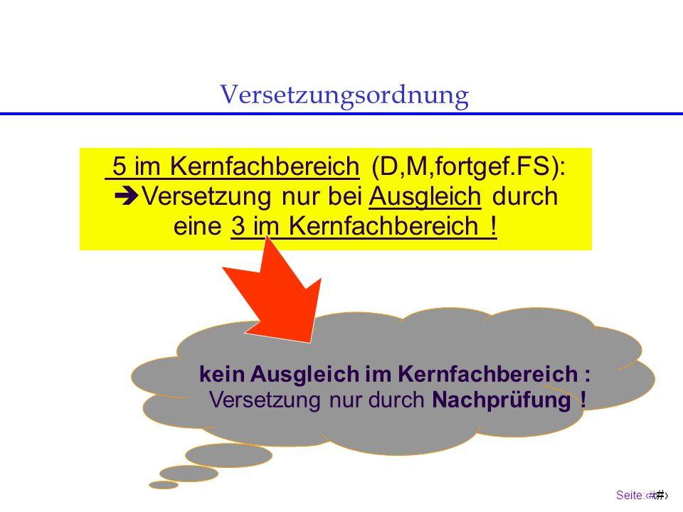 Seite:15 15 9 Pflichtkurse 1 Wahlpflichtkurs Grundlage der Versetzung Mahnungsfrist: 10 Wochen 10 Fächer + = Versetzungsordnung