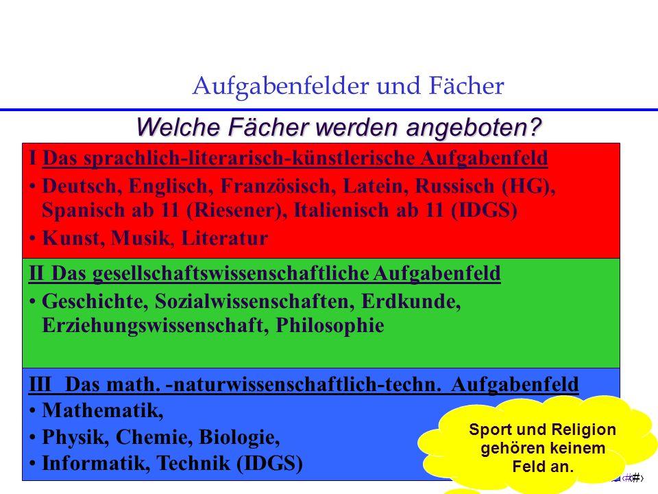 Seite:8 8 Aufgabenfelder und Fächer Welche Fächer werden angeboten.