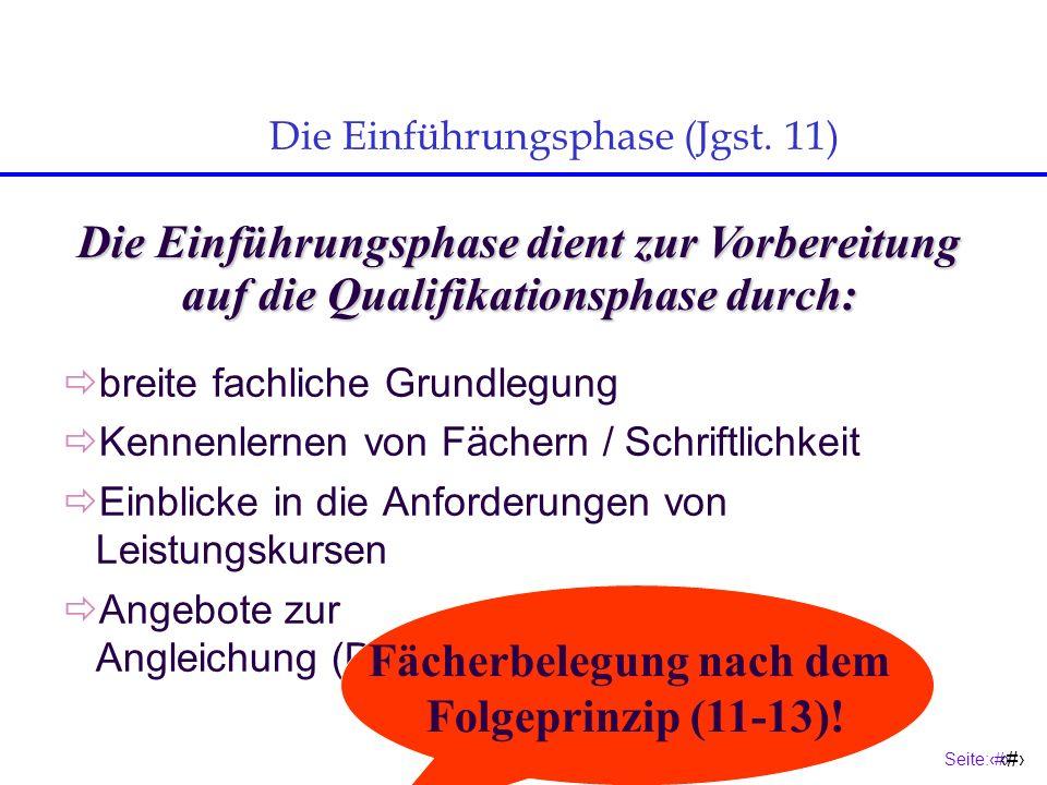 Seite:9 9 breite fachliche Grundlegung Kennenlernen von Fächern / Schriftlichkeit Einblicke in die Anforderungen von Leistungskursen Angebote zur Angleichung (D, M, E, CH (HG)) Die Einführungsphase (Jgst.