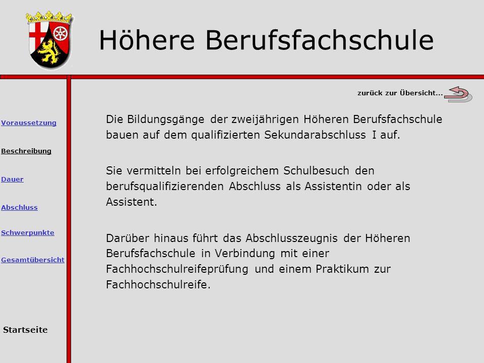 Höhere Berufsfachschule Beschreibung Die Bildungsgänge der zweijährigen Höheren Berufsfachschule bauen auf dem qualifizierten Sekundarabschluss I auf.