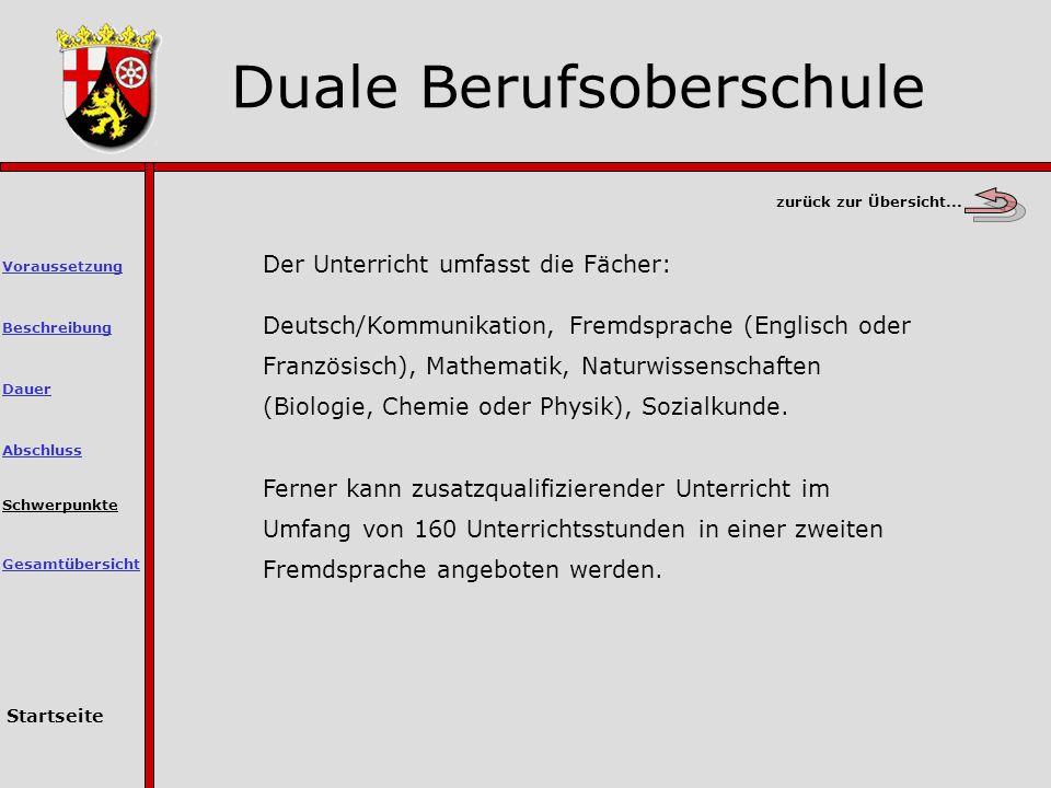 Der Unterricht umfasst die Fächer: Deutsch/Kommunikation, Fremdsprache (Englisch oder Französisch), Mathematik, Naturwissenschaften (Biologie, Chemie oder Physik), Sozialkunde.