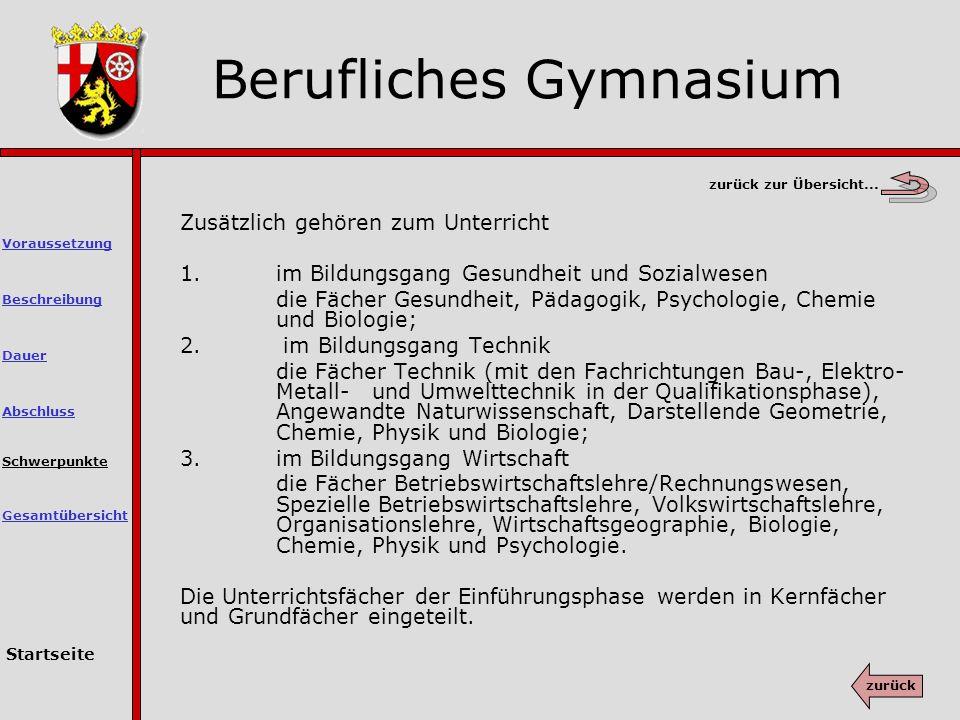 Berufliches Gymnasium Schwerpunkte Zusätzlich gehören zum Unterricht 1.
