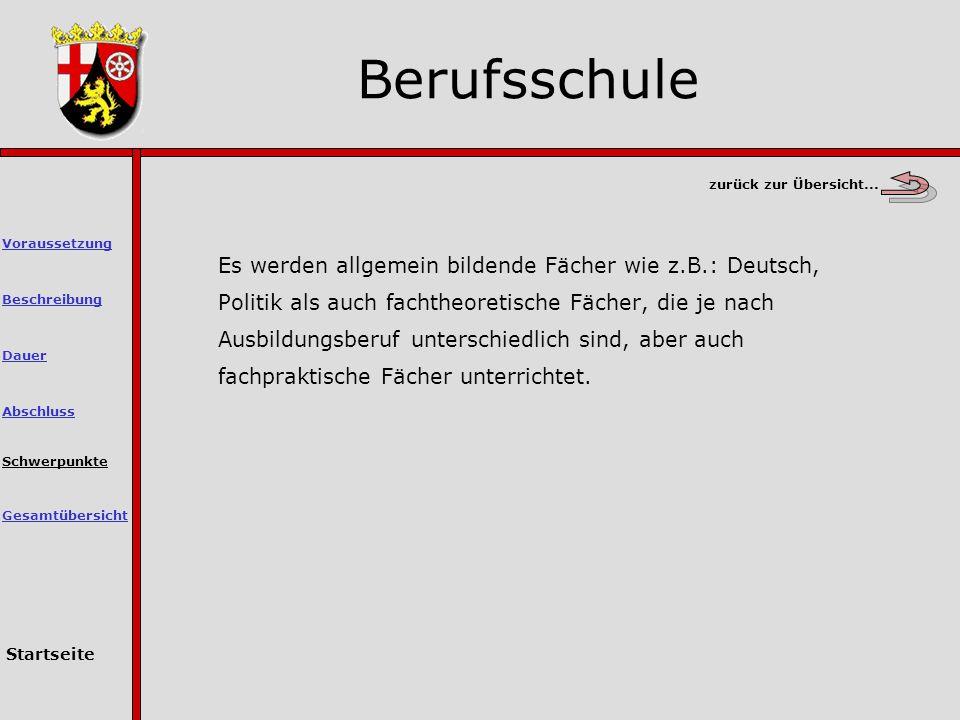 Es werden allgemein bildende Fächer wie z.B.: Deutsch, Politik als auch fachtheoretische Fächer, die je nach Ausbildungsberuf unterschiedlich sind, aber auch fachpraktische Fächer unterrichtet.