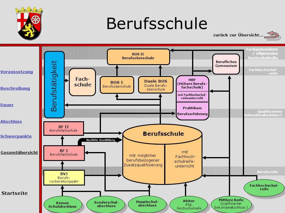 Berufsschule Gesamtübersicht Berufsreife Keinen Schulabschluss Sonderschul- abschluss Hauptschul- abschluss Abitur Allg.