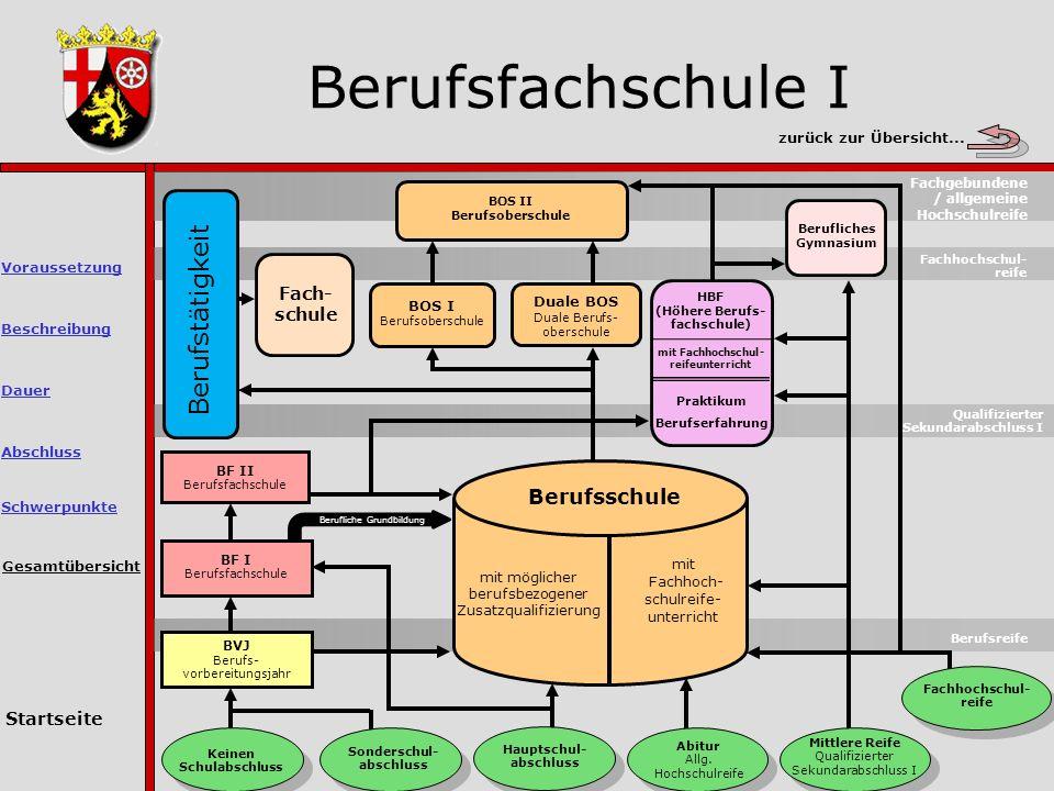 Berufsfachschule I Gesamtübersicht Berufsreife Keinen Schulabschluss Sonderschul- abschluss Hauptschul- abschluss Abitur Allg.