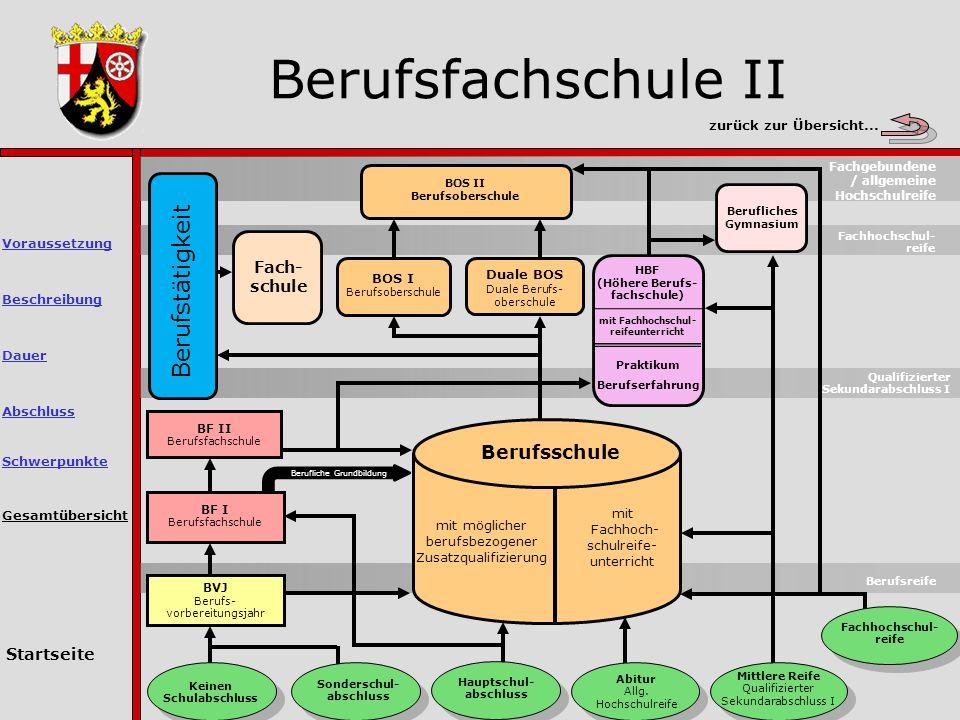 Berufsfachschule II Gesamtübersicht Berufsreife Keinen Schulabschluss Sonderschul- abschluss Hauptschul- abschluss Abitur Allg.