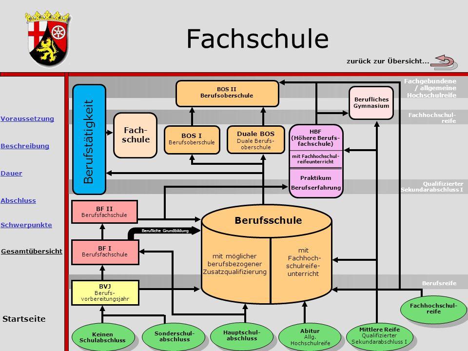 Fachschule Gesamtübersicht Berufsreife Keinen Schulabschluss Sonderschul- abschluss Hauptschul- abschluss Abitur Allg.