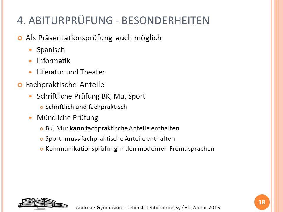 Andreae-Gymnasium – Oberstufenberatung Sy / Bt– Abitur 2016 4. ABITURPRÜFUNG - BESONDERHEITEN Als Präsentationsprüfung auch möglich Spanisch Informati