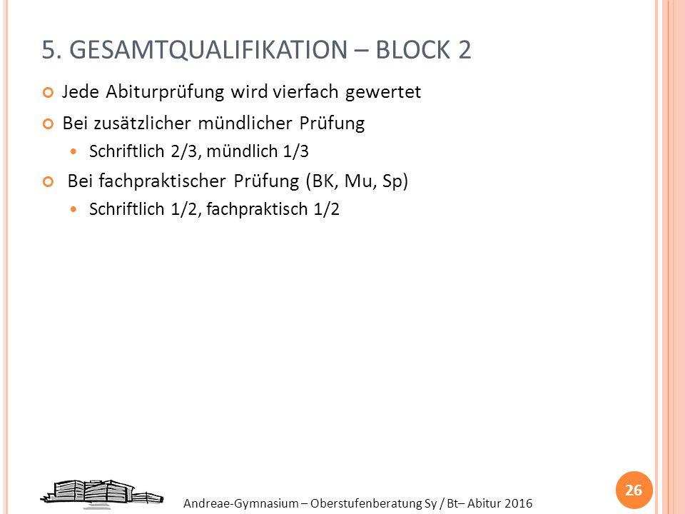 Andreae-Gymnasium – Oberstufenberatung Sy / Bt– Abitur 2016 5. GESAMTQUALIFIKATION – BLOCK 2 Jede Abiturprüfung wird vierfach gewertet Bei zusätzliche