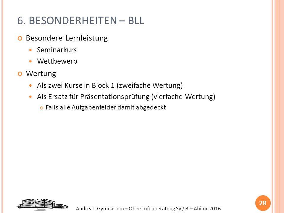 Andreae-Gymnasium – Oberstufenberatung Sy / Bt– Abitur 2016 6. BESONDERHEITEN – BLL Besondere Lernleistung Seminarkurs Wettbewerb Wertung Als zwei Kur