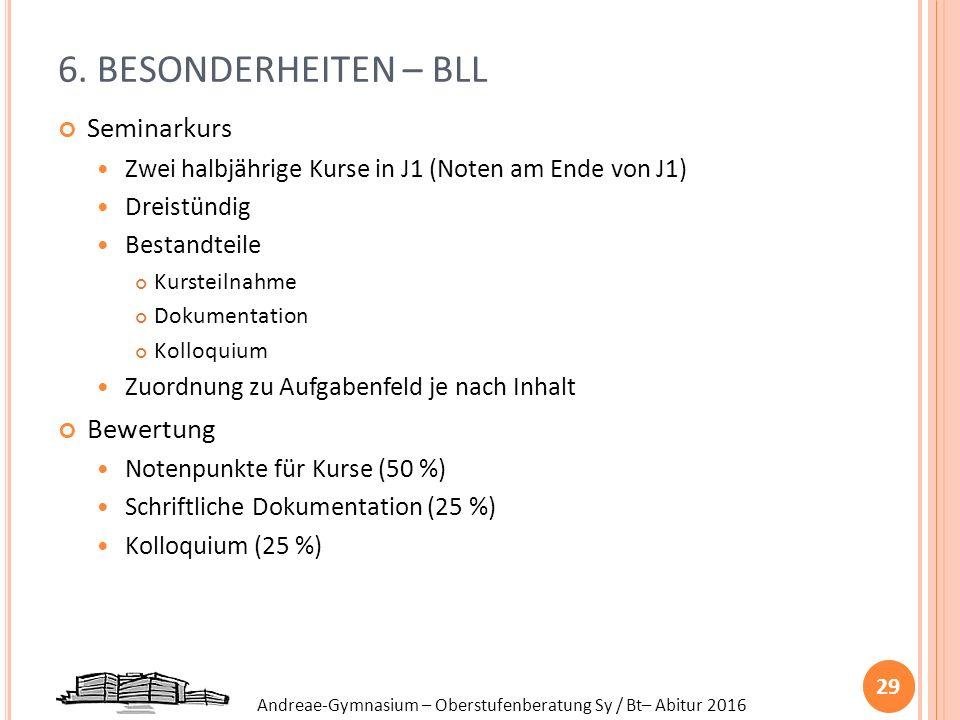 Andreae-Gymnasium – Oberstufenberatung Sy / Bt– Abitur 2016 6. BESONDERHEITEN – BLL Seminarkurs Zwei halbjährige Kurse in J1 (Noten am Ende von J1) Dr